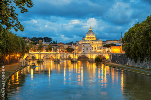 Deurstickers Rome Evening view of Basilica St Peter and bridge Sant Angelo in Vatican City Rome Italy. Rome architecture and landmark. St. Peter's cathedral in Rome.