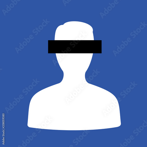 Fotografía  Anonymity and anonymisation of anonymous person - man is keeping private and secret of his face by covering