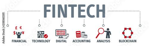 Fototapety, obrazy: Banner Fintech Investment Financial Internet Technology Concept