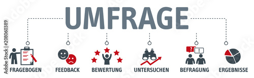 Photo Banner Umfrage Vektor Illustration mit icons