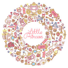 Vector Round Frame Icon Collection Little Princess