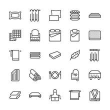Bedding Flat Line Icons. Ortho...