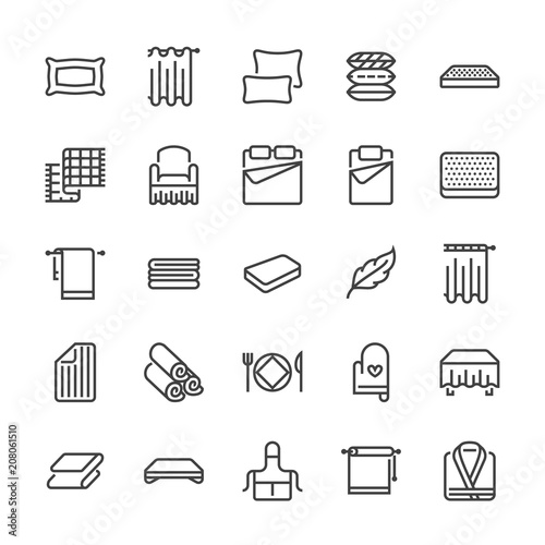 Obraz Bedding flat line icons. Orthopedics mattresses, bedroom linen, pillows, sheets set, blanket and duvet illustrations. Thin signs for interior store. Pixel perfect 48x48. - fototapety do salonu