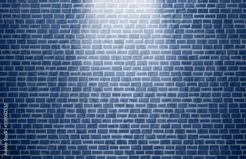 Blue brick wall vector background with light spot - Buy this