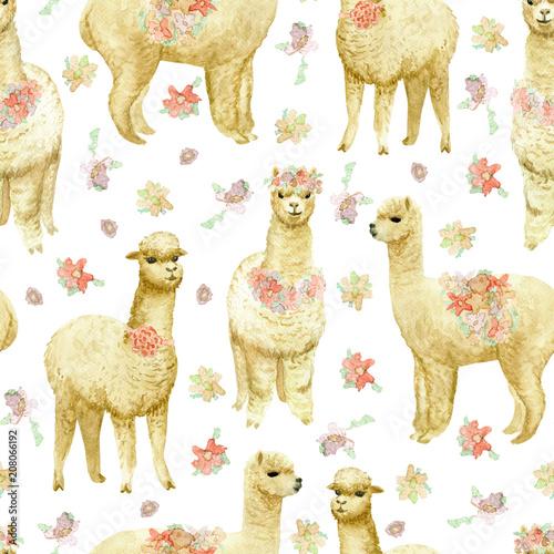 Foto op Plexiglas Lama Alpaca seamless