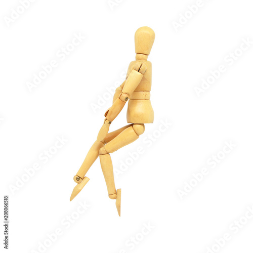 Photographie Wooden Manikin Action Model Human on a white background and Clipping path