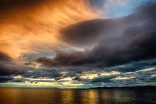 Sunset Over Stormy Clouds Acro...