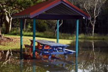 Flooded Park Bench And Table B...