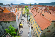 City Of Graz From Schlossberg, Aerial View