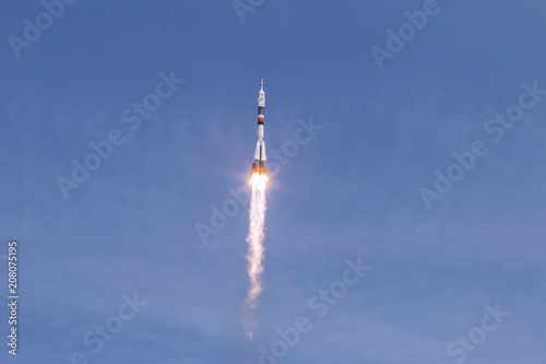 track from the rocket stage in the sky after launching the rocket