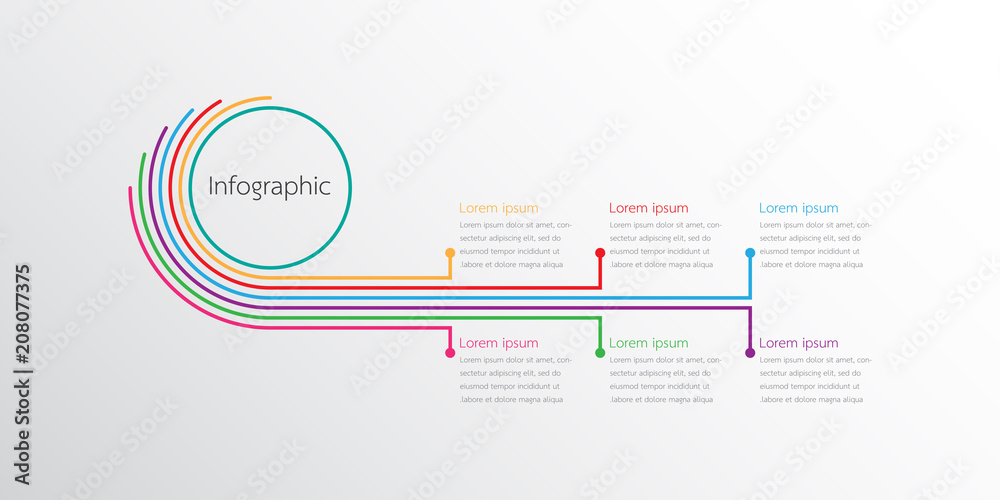 Fototapeta Vector infographic templates used for detailed reports. All 6 topics.