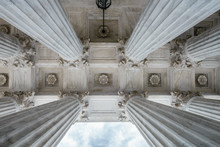 Low Angle View Of The Columns Of The United States Supreme Court