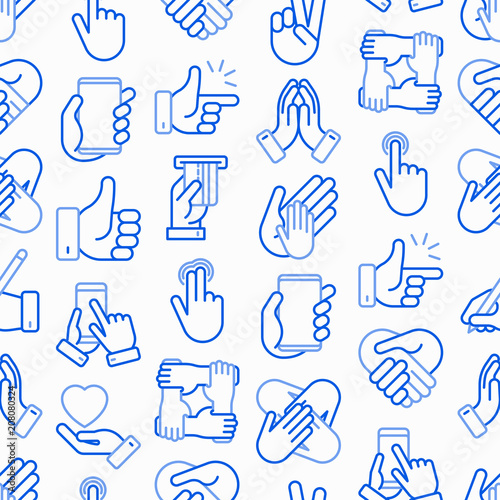 Hands gestures seamless pattern with thin line icons set: handshake, easy sign, single tap, 2 finger tap, holding smartphone, teamwork, mutual help, swipe, peace, prayer. Modern vector illustration.