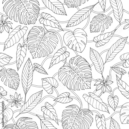 Cotton fabric Vector tropical seamless pattern with lianas, monstera and banana leaves on the white background. Exotic foliage. Jungle coloring book design in sketch style.
