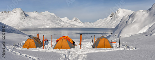 Greenland, Schweizerland Alps, Kulusuk, tents and skis