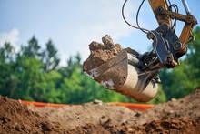 Backhoe - Bulldozer In Open Field Operation