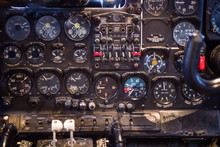 Dashboard Of The Old Soviet Turboprop Aircraft AN-24.  The Aircraft Out Of Production In 1979.