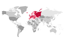 Map Of World In Grey Colors With Red Highlighted Countries Of Europe. Vector Illustration.