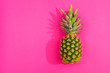 Pineapple from above on pink background
