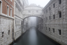 Bridge Of Sighs In The Fog, Winter, Venice, Veneto