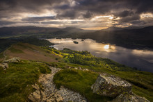 Sunrise Over Derwentwater From The Ridge Leading To Catbells In The Lake District National Park, Cumbria