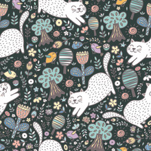 Cute Cat In The Forest Seamless Pattern. Funny Summer Background. Vector Illustration