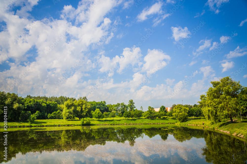 Fototapeta Beautiful garden park from green tree near river side - obraz na płótnie