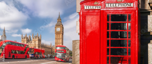 Foto op Canvas Londen rode bus London symbols with BIG BEN, DOUBLE DECKER BUS and Red Phone Booths in England, UK