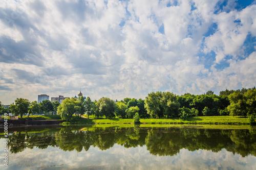 Fototapeta Beautiful garden park from green tree near river side obraz na płótnie