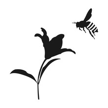Flying Honey Bee Silhouette. Flower And Honey Bee. Vector Icon