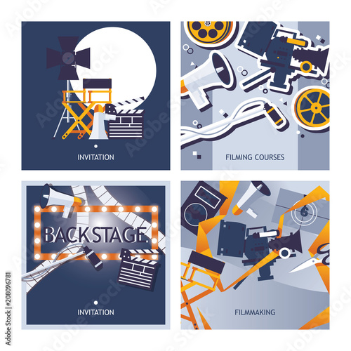 Vector cards set dedicated to filming, movie making and