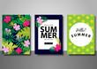 Summer sale background set vector illustration template