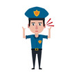 Police officer drawing attention cartoon vector illustration graphic design
