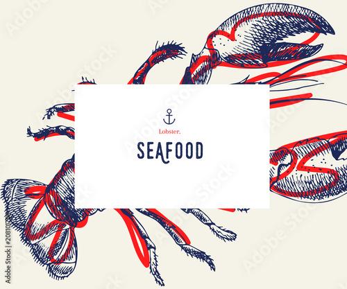 Ustaw baner z owocami morza. Ręcznie rysowane homary. Menu restauracji wektor. Banner żywności morskiej, projekt ulotki. Grawerowane pojedyncze sztuki. Pyszne obiekty kuchenne. Użyj do promocji, rynku, sklepu banerowego