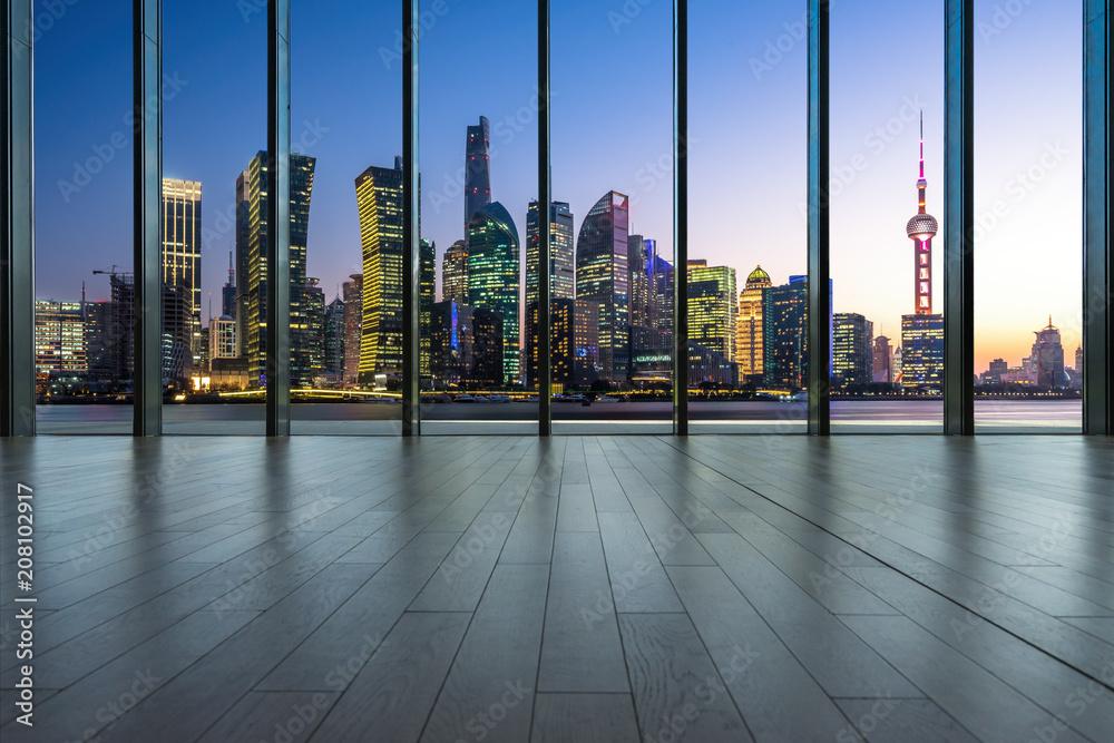Fototapety, obrazy: empty window with city skyline