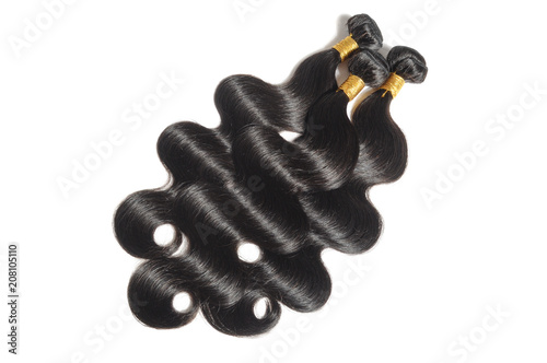 Fotografía  body wavy black human hair weaves extensions bundles