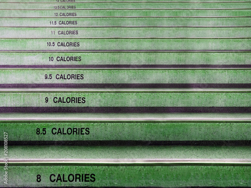 Photo Stands Stairs Stair and text display number of calories