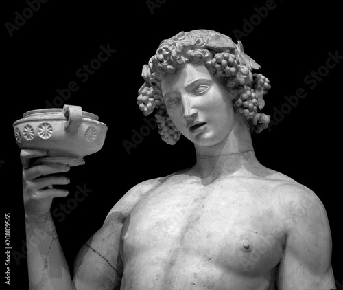 Dionysus Bacchus Wine statue portrait on black Wallpaper Mural