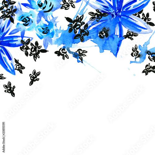 Photo sur Toile Oiseaux sur arbre Invitation card for wedding with bright watercolor flowers