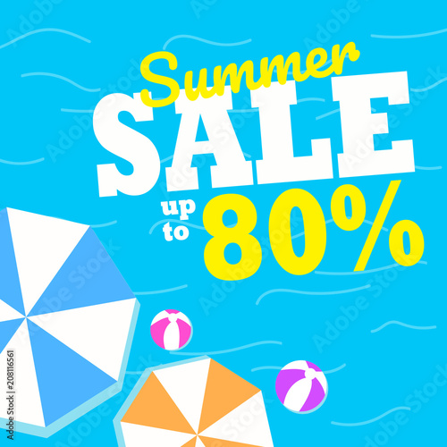 Poster Retro sign Summer Sale background layout for banners. Colorful and good for promotion