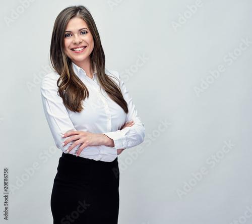 Obraz studio portrait of smiling positive business woman. - fototapety do salonu