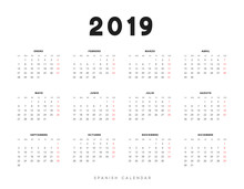 Simple Spanish Calendar For 20...