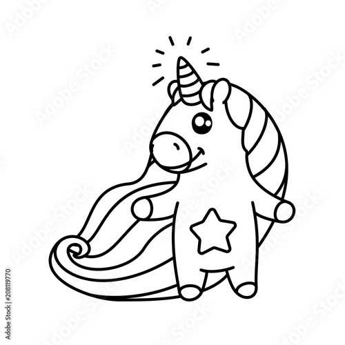 vector cartoon unicorn Magic coloring book page for kids 01 ...