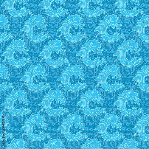 Fotobehang Kunstmatig Seamless marine pattern