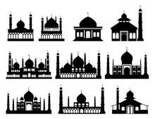 Islamic Buildings Silhouettes. Mosques And Minarets With Crescents. Vector Illustration