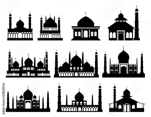 Islamic buildings silhouettes Canvas