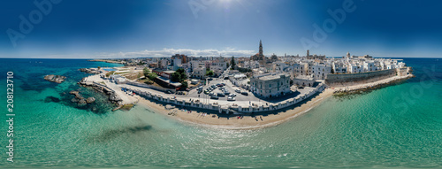 Foto op Plexiglas Nachtblauw Monopoli Apulia City near the Sea Coastline blue in Italy Drone 360 vr