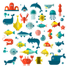 Set Of Vector Flat Sealife Ele...
