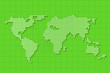 canvas print picture - Green screen digital world map on grid background.