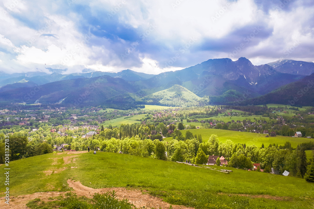 A view of the Polish mountains during the descent from Gubalowka. The city of Zakopane in the background